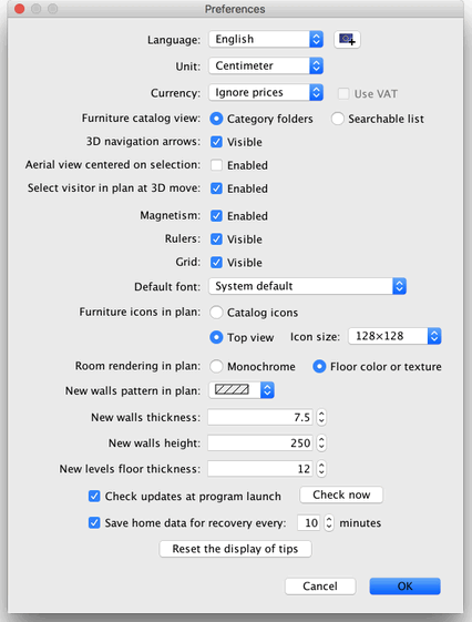 Editing preferences