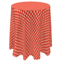 Table with tablecloth by Sizzler
