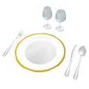 Plate, glasses and cutlery by Scopia